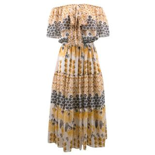 Temperley Off the Shoulder Floral Print Dress
