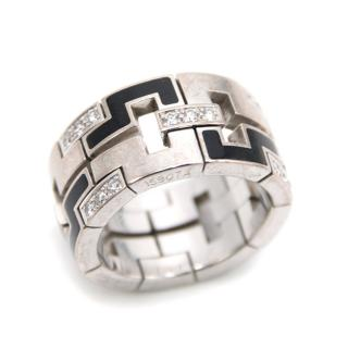 Cartier White Gold, Black and Diamond Pattern Ring