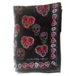 Alexander McQueen Skull Poppy print scarf