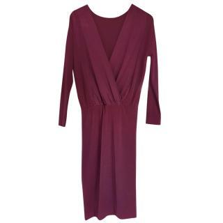 malene birger burgundy silk dress  size 8 xs
