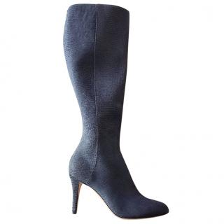 jimmy choo blue suede knee-high sock-type boots size 4.5