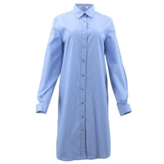 Jil Sander Blue Cotton Shirt Dress