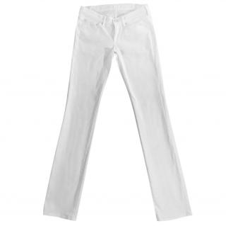 7 FOR ALL MANKIND white straight leg stretchy jeans