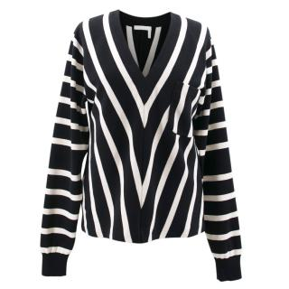 Chloe Black and White Striped Top