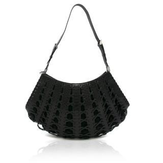Balmain Black Leather Fan Bag