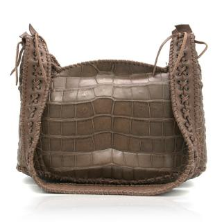 Balmain Aventura Brown Crocodile Shoulder Bag