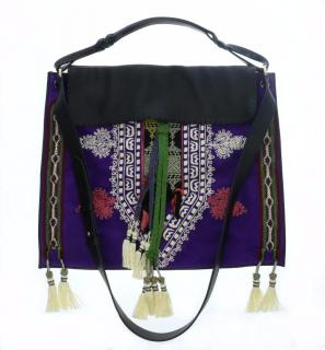 Etro shoulder bag in black leather and purple suede