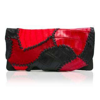 Balmain Red Leather Crocodile Clutch