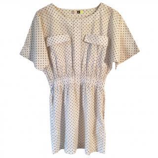 MSGM Cream & Black Polka Dot Mini Dress