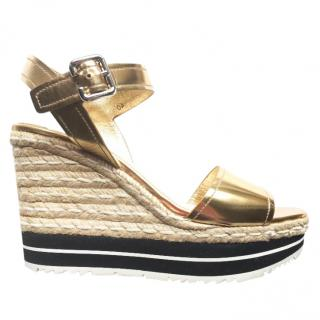 PRADA gold metallic leather espadrille wedge sandals