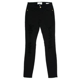 Frame Le Skinny de Jeanne Black Distressed Jeans
