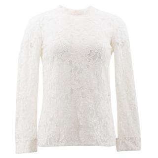 Saint Laurent White Lace Top