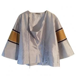 BOTTEGA VENETA silk pale grey & cream striped blouse