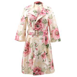 Grazia Bagnaresi Floral Pattern Silk Coat