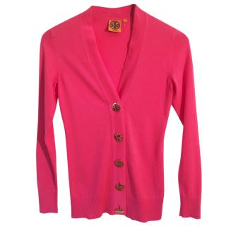 TORY BURCH cotton hot pink cardigan w gold buttons