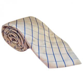 Canali Pale Gold Check Woven Silk Tie