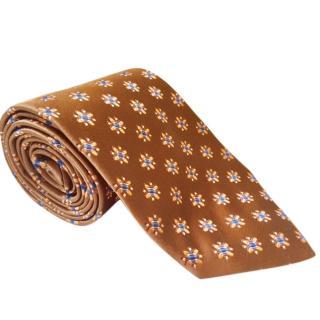 Ermenegildo Zegna Brown Woven Silk Tie