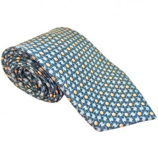 Hermes Classic Light Blue with Yellow Highlights Printed Silk Tie