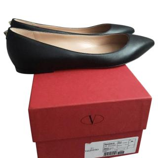 Valentino Rockstud Black Leather Single Rockstud Flats