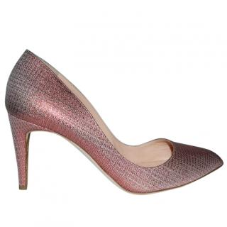 Rupert Sanderson Pink Nada Ferrari Glitter Pumps