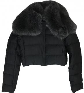 Prada Cropped Jacket With Fox Fur Collar.