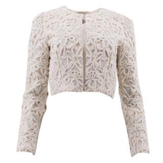Stella McCartney White Embroidered Silk Cropped Jacket