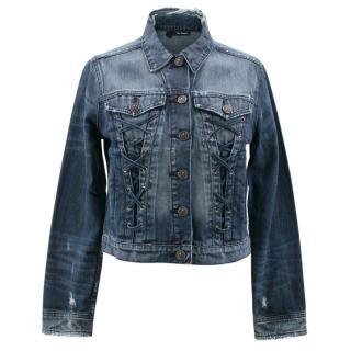 The Kooples Distressed Cropped Denim Jacket