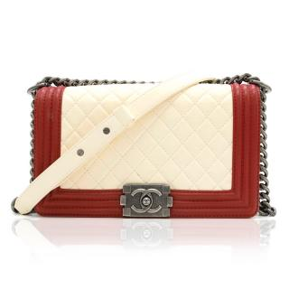 Chanel Red and White Boy Bag
