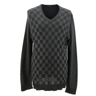 Louis Vuitton Grey Checkered Print Jumper