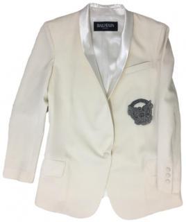 Balmain Cream Embellished Wool Blazer.