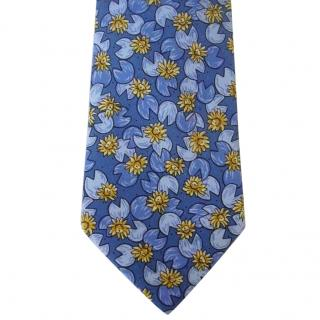 Hermes Blue & Gold Water Lily Pad Motif Tie IA