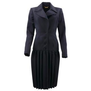 Roberto Cavalli Navy Wool Pleated Coat