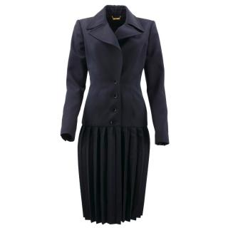 Roberto Cavalli Navy Wool Pleated Coat