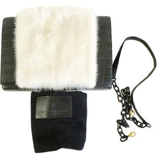 Nancy Gonzalez black crocodile and white fur clutch with short shoulder strap