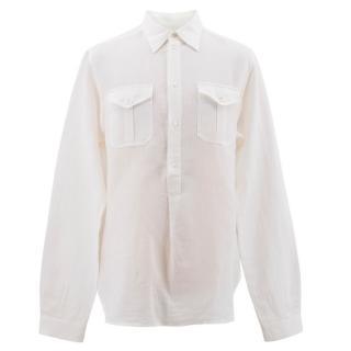 Dolce and Gabbana White Linen Blend Shirt