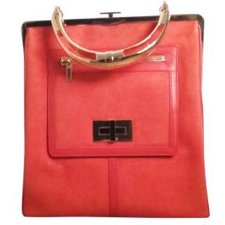 Balmain Orange Suede Top Handle Bag