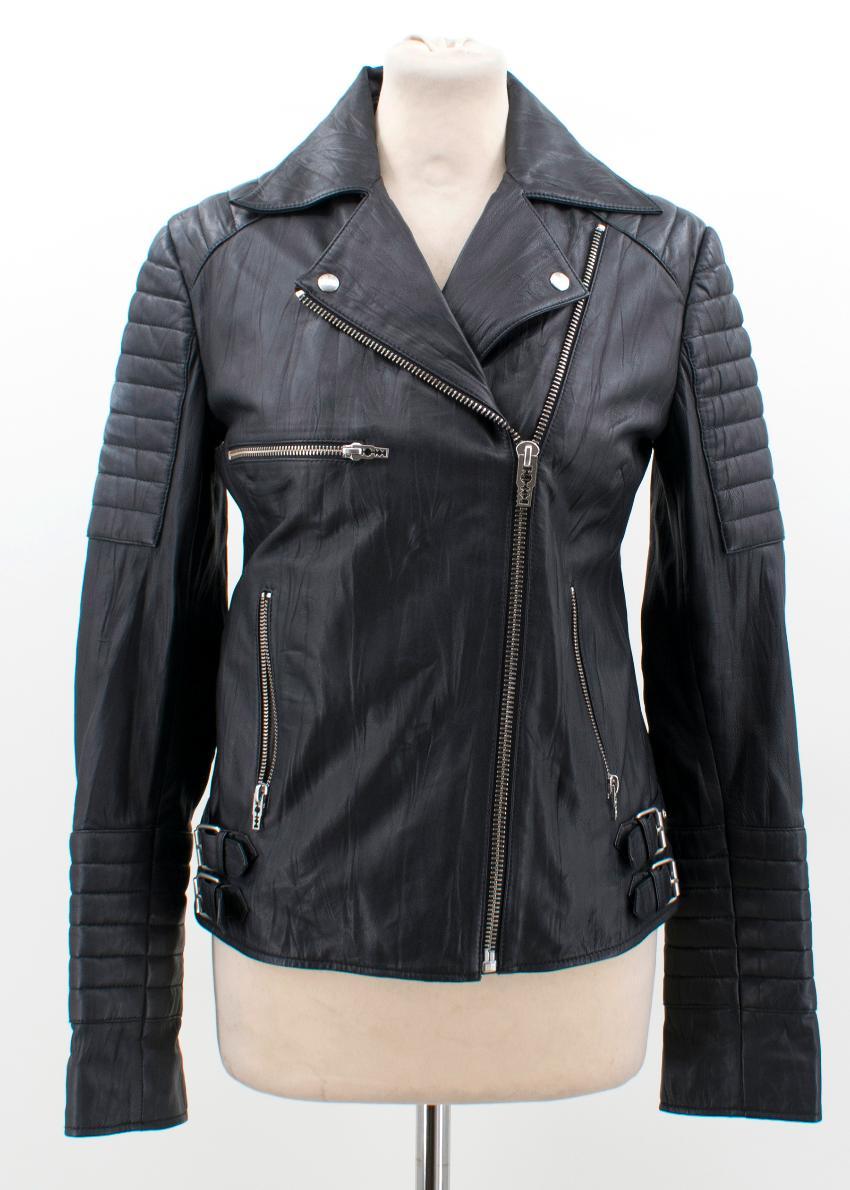 be2658172acaa McQ Alexander McQueen Black Leather Biker Jacket. 46. 12345678910