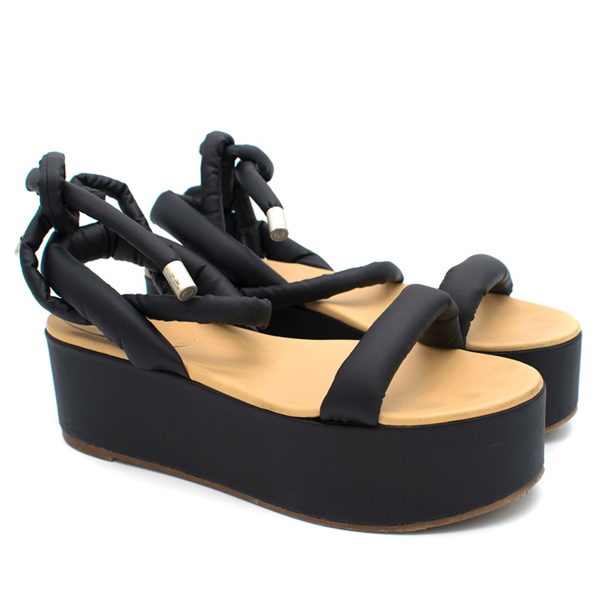 MM6 Black Puff Strap Platform Sandals