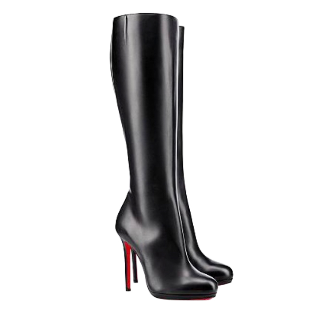 online retailer 0b548 55115 Christian Louboutin Black Calf Leather Botalili 120 High Boots