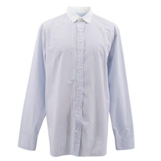 Yves Saint Laurent Blue Striped Cotton Shirt