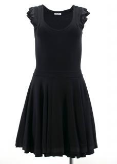 Miu Miu Black Ruffled Stretch-Jersey Mini Dress