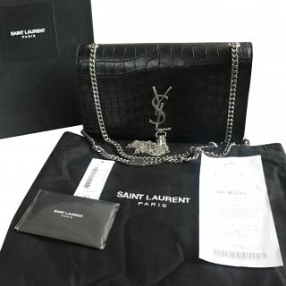 YSL Croc Embossed Medium Kate Satchel