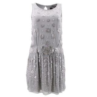 Jenny Packham Grey Beaded Dress