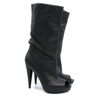 Alexander McQueen Black Leather Peep Toe Boots