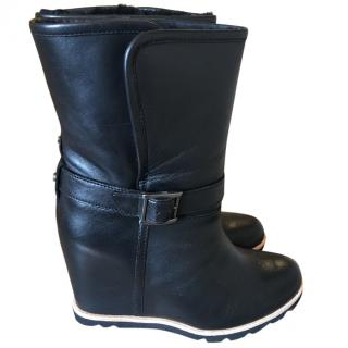 Ugg Hidden Wedge black leather boots
