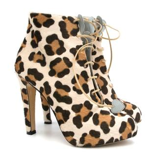Charlotte Olympia Leopard Print Heeled Boots