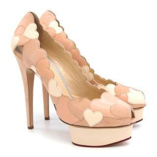 Charlotte Olympia Love Me Heart-appliqued Suede Pumps