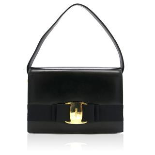 Salvatore Ferragamo Black Leather Tote Bag