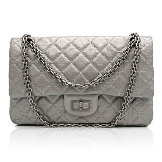 Chanel Argent Fonce 2.55 Metallic Silver Leather Bag