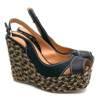 Sergio Rossi Black Peep Toe Wedges